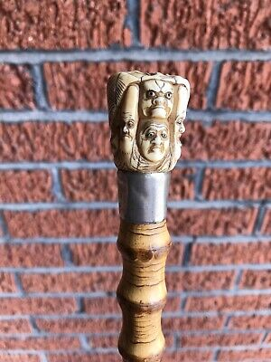 Fine Warthog Task Bamboo Root Antique Chinese Cane. Circa 1800s