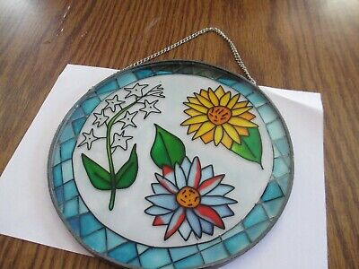 Hand Painted?  Stained Glass and Lead  -  Flowers  -  Round Sun Catcher w/Hanger
