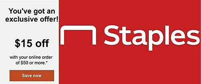 NEW staples $15 off $50 coupon exp 3/7 $100 $50 online Expires 3/7/20 $75 $25