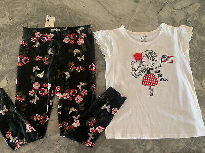Girls 2 Pc Lot Top Size 8 Leggings Size M Crown & Ivy Epic Threads USA Patriotic