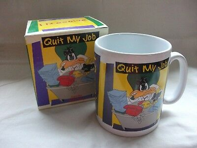 Rare 1996 Warner Bros. Studio Daffy Duck 'Quit My Job' Large Mug Boxed