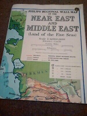 Vintage Near east middle East map SCHOOL FOLDING MAP VERY NICE CONDITION
