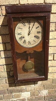 Heavy Old Industrial Clocking In Type Oak Case Wall Clock