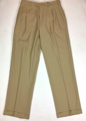 Angelico Super 120s Made In Italy Men's Tan 34X31 Actual 32X31 Dress Wool Pants.