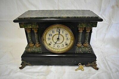 Antique American Seth Thomas Adamantine Finish Fine Parlor Clock. Clean, Runs