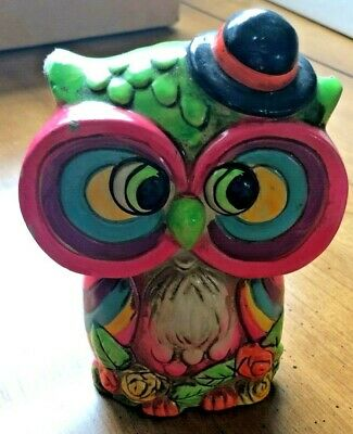 Vintage Psychedelic Owl Piggy Bank 60's Rare - And So Groovy, Man!