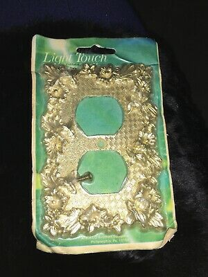 Vintage Ornate Floral Gold Metal Outlet Cover Plate New Old Stock