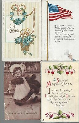 Vintage Assorted Greetings Postcards Circa 1800's-1900's Lot of 5 *
