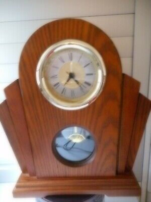 Vintage Westminster chime mantel clock in solid wood case brass pendulum