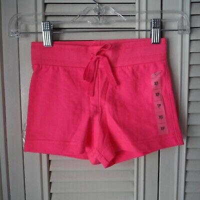 Old Navy Girls Neon Hot pink Knit shorts size XS 5 pull on Cotton faux tie New