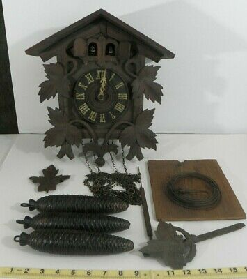 Antique German 2 Door Cuckoo Clock ~ Kuehl Clock Co. Chicago ~1921