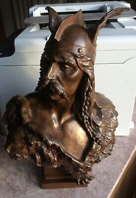 Emile  LAPORTE  late 19th/ early 20th C  French BRONZE -BUST of  VERCINGÉTORIX..
