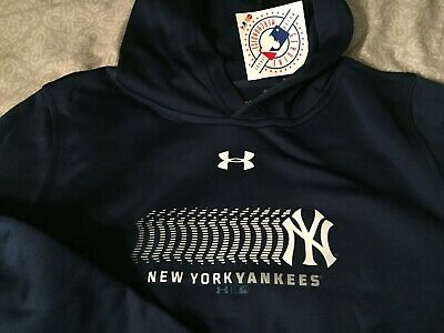 Youth Boys/Girls Under Armour New York Yankees Hoodie Blue Yxl Ex Large Nwt
