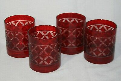 Ruby Red Crystal Cut to Clear Double Old Fashioned Glasses - Set of 4
