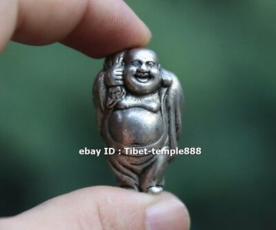 4 CM Chinese Miao Silver Lucky Wealth Maitreya Buddha Sack Monk Amulet sculpture