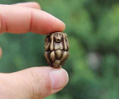 3 CM 100% Pure Bronze Chinese Zodiac Animal 3 Don't Monkey Statue Amulet Pendant