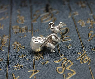 4.5 CM Miao Silver Chinese Zodiac Animal Mouse Bring Wealth Sack Amulet Pendant