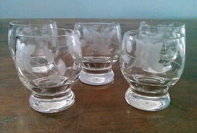 """Lot of 5 Beautiful Vintage Etched Flower Clear Glass Sake Shot 2"""" Glasses Cups"""
