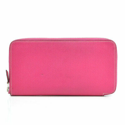Auth HERMES Square P (2012) Azap Long Silk'in Long Wallet Pink Leather - r7653