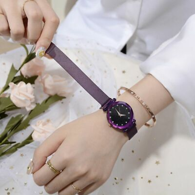Women Starry Sky Quartz Watch Waterproof Magnet Stainless Steel Strap Band Gift
