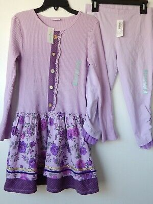 Naartjie girls' outfit Dress Leggings Purple gold hearts Delight Rose NWT 9-10