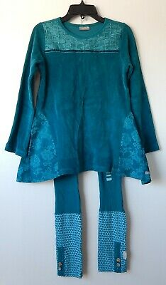 Naartjie girl's outfit/set Teal Turquoise Velour Top/Leggings NEW size 9