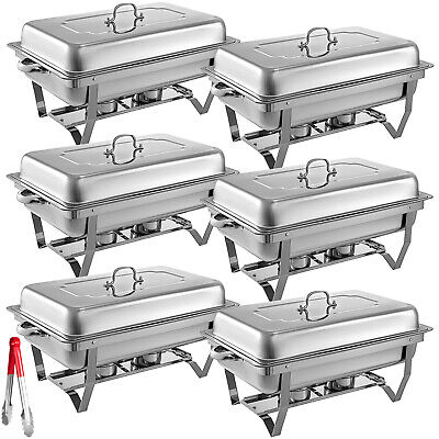 6 Packs Chafing Dishes Set Stainless Steel Lid For Catering Buffet Warmer Set