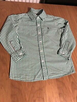 Joules Boys Adjustable Length Sleeves Green Checked Shirt Age 5 Years Vgc