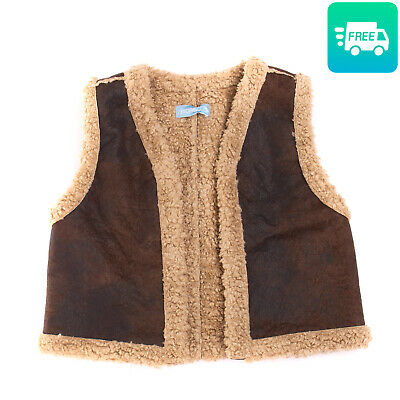 RRP €175 SIMONETTA Gilet Size M / 16Y / 168CM Suede Effect Sherpa Made in Italy