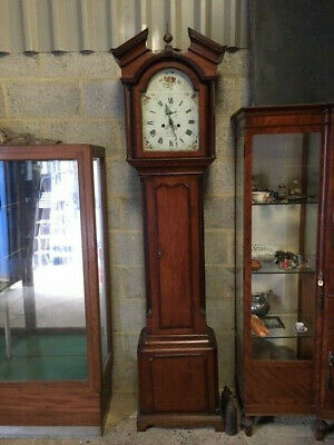 Georgian Antique Mahogany Grand Father clock, Painted dial and long door
