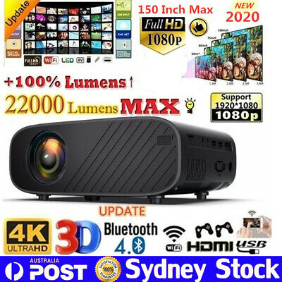 22000LM HD 1080P Mini Wifi Bluetooth LED Movie Projector Home Theatre HDMI USB