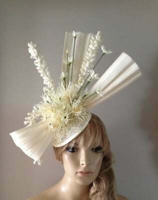 Ivory Cream hat fascinator hats beret feather wedding ascot fascinators bride