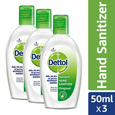 Dettol Instant Hand Sanitizer Original 50ml x 3 Kills 99.9% Germs without Water
