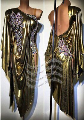 L2123  women Competition Specialty Latin/Rhythm Rumba dress UK 10 US 8 gold