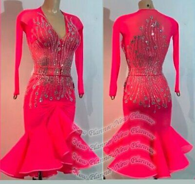 L2111 women Competition Specialty Latin/Rhythm Rumba dress UK 10 US 8 red