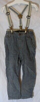 Baby Boys Next Mid Grey Detachable Braces Lined Smart Trousers Age 18-24 Months