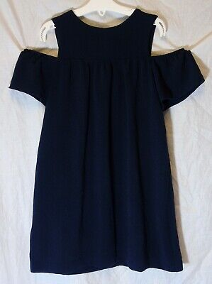 Girls Next Navy Blue Cold Shoulder Textured Short Sleeve Smart Dress Age 6 Years