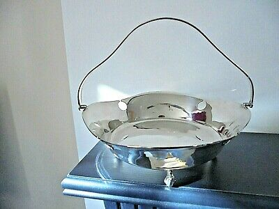 Arts & Crafts Style Silver Plated Swing Handle Bread/Fruit Basket