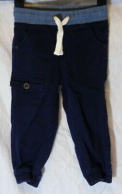 Baby Boys Matalan Navy Blue Denim Cotton Cuffed Cargo Trousers Age 18-24 Months