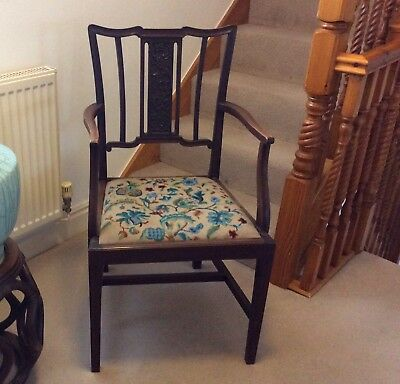 Antique Arts & Crafts Art Nouveau Chair Berlin Wool Work Covered Seat Beautiful