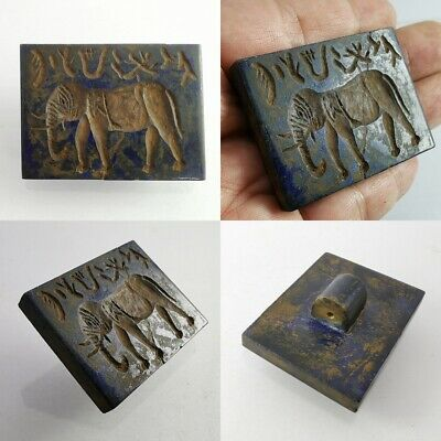 Indus Valley Elephant Lapis Lazuli Old Near Eastern Stamp Seal & Symbols #357