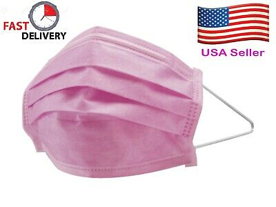 25 PCS Disposable Face Mask Medical Surgical Dental Earloop 4-Ply Pink BFE>99%