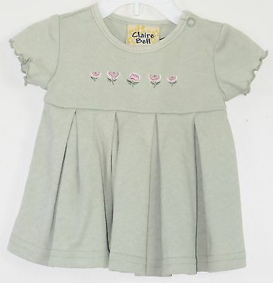 CLAIRE BELL Size 3-6 Months Light Green Pleaded Short Sleeves Dress