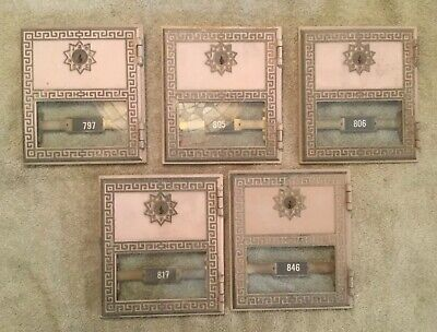 Lot Of 5 Vintage Solid Brass Post Office Box Doors