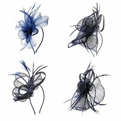 Hat Fascinator Navy Blue Headband Aliceband Weddings Ladies Day Race Royal Ascot