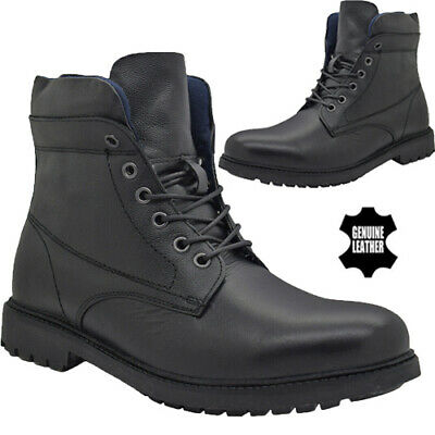 Mens Leather Military Combat Boots Police Army Lace Up Walking Work Ankle Boots