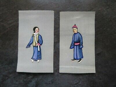 2 Antique Miniature Chinese Pith Rice Paper Hand Painting, 19th Century.