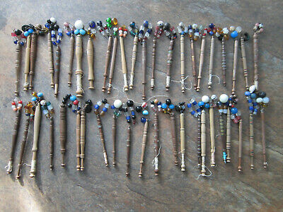 Collection Of 45 Lacemaking Bobbins With Spangles (Lot E)