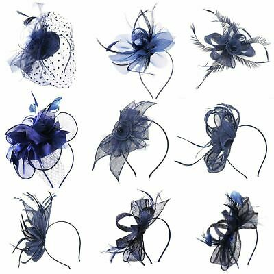 Ladies Flower Feather Hair Fascinator Hat Veil Headband Clip Wedding Ascot Races