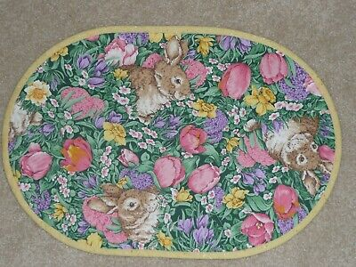 NEW Handmade SET 4 Oval Placemats Easter Bunny, Rabbit, Spring FLowers, Tulips